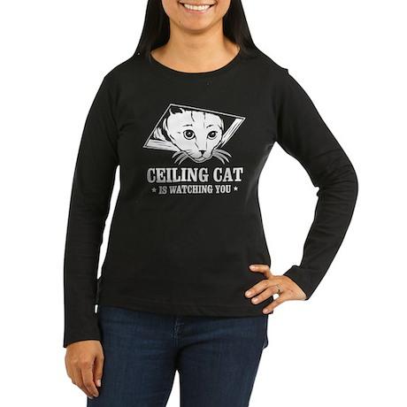 ceiling cat is watching you Women's Long Sleeve Da