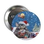 Christmas Maine Coon Cat Button