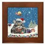 Christmas Maine Coon Cat Framed Tile