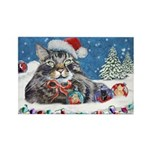 Christmas Maine Coon Cat Rectangle Magnet (10 pack