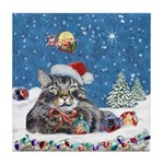 Christmas Maine Coon Cat Tile Coaster