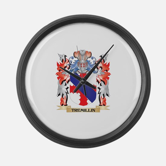 Tremillin Coat of Arms - Family C Large Wall Clock