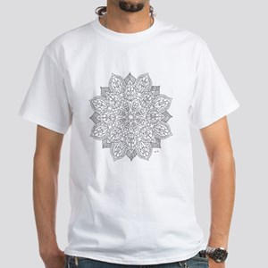 Stained Glass Flower Color Your Own White T-Shirt