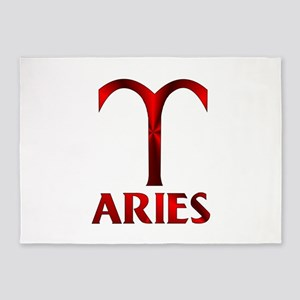 Red Aries Symbol 5'x7'Area Rug