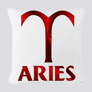 Red Aries Symbol Woven Throw Pillow
