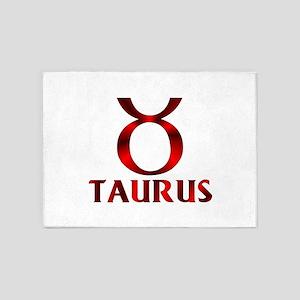Red Taurus Symbol 5'x7'Area Rug
