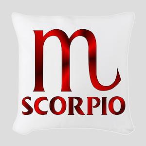Red Scorpio Symbol Woven Throw Pillow