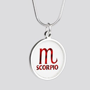 Red Scorpio Symbol Silver Round Necklace