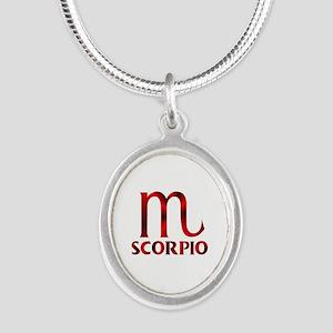 Red Scorpio Symbol Silver Oval Necklace