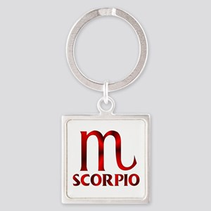 Red Scorpio Symbol Square Keychain