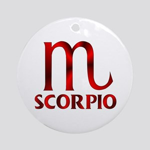 Red Scorpio Symbol Round Ornament