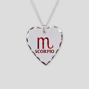Red Scorpio Symbol Necklace Heart Charm