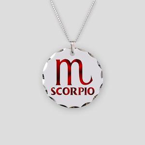 Red Scorpio Symbol Necklace Circle Charm