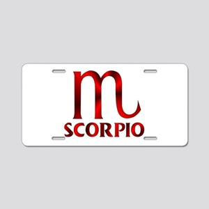 Red Scorpio Symbol Aluminum License Plate