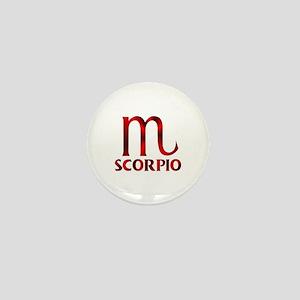 Red Scorpio Symbol Mini Button