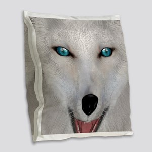 Arctic Fox Burlap Throw Pillow