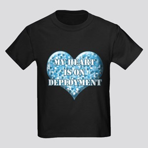 My heart is on deployment Kids Dark T-Shirt