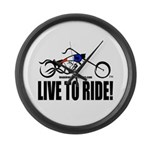 Live To Ride! Large Wall Clock