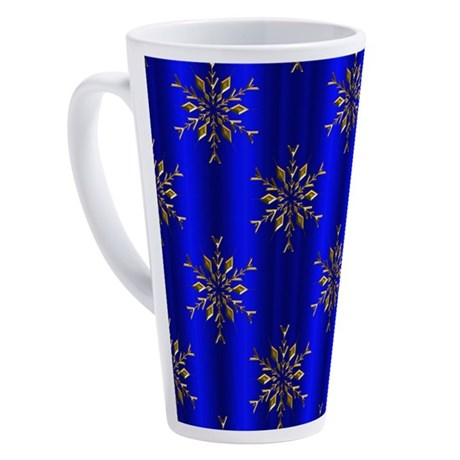 Blue Christmas, Gold Stars 17 oz Latte Mug
