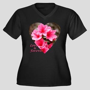 Azalea Heart Women's Plus Size V-Neck Dark T-Shirt