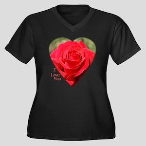 Rose Love Women's Plus Size V-Neck Dark T-Shirt