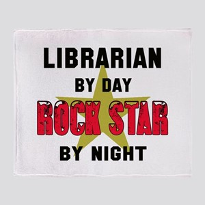 Librarian By Day, Rock Star By night Throw Blanket