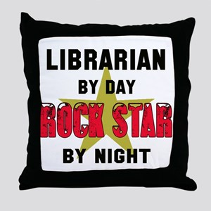 Librarian By Day, Rock Star By night Throw Pillow