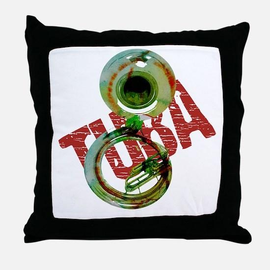 Grunge Sousaphone Throw Pillow