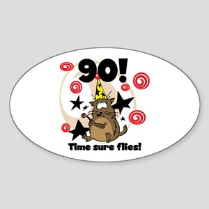 90th Birthday Oval Sticker
