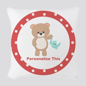 Cute Bear personalized Woven Throw Pillow
