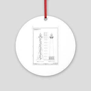 Vintage Cape Hatteras Lighthouse Bl Round Ornament