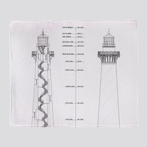 Vintage Cape Hatteras Lighthouse Blu Throw Blanket