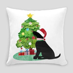 Black Lab Decorating Christmas Tree Everyday Pillo