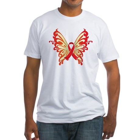 AIDS Ribbon Butterfly Fitted T-Shirt