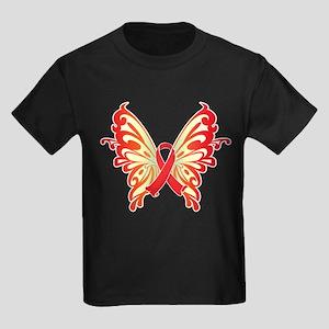 AIDS Ribbon Butterfly Kids Dark T-Shirt