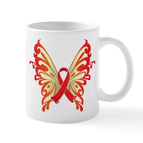 AIDS Ribbon Butterfly Mug