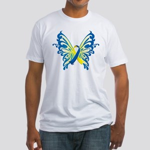 Down Syndrome Butterfly Fitted T-Shirt