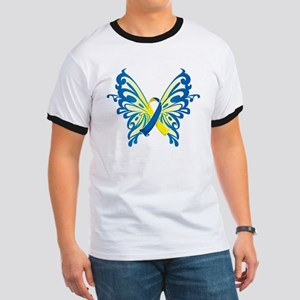 Down Syndrome Butterfly Ringer T