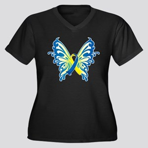 Down Syndrome Butterfly Women's Plus Size V-Neck D