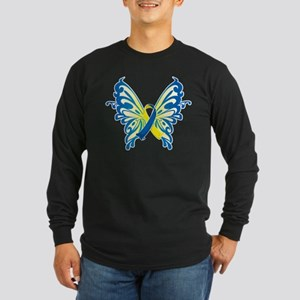 Down Syndrome Butterfly Long Sleeve Dark T-Shirt