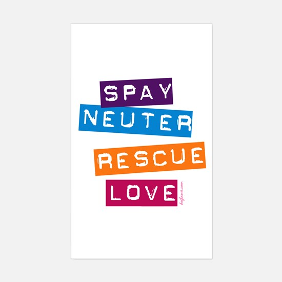 Spay Neuter Rescue Love Rectangle Decal