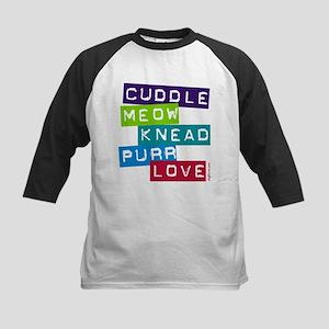 Cuddle Meow Knead Purr Love Kids Baseball Jersey