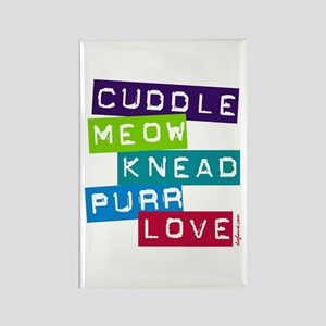 Cuddle Meow Knead Purr Love Rectangle Magnet