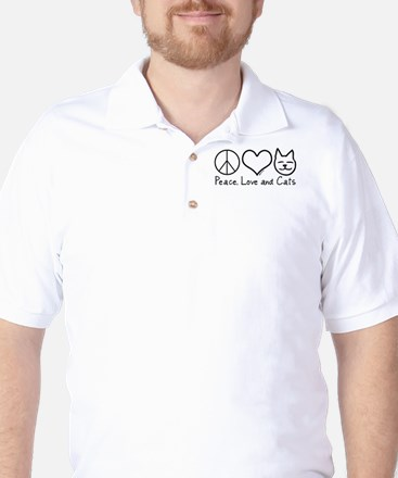 Peace, Love, and Cats! Golf Shirt