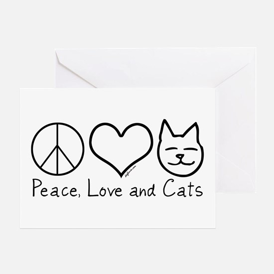 Peace, Love, and Cats! Greeting Card