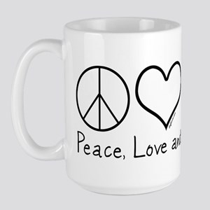 Peace, Love, and Cats! Large Mug