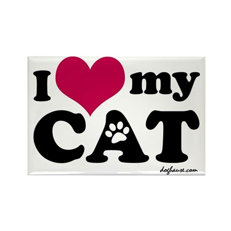 I Love My Cat Rectangle Magnet (100 pack)