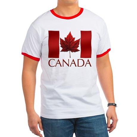 Canadian Flag T-shirt Maple Leaf Art Souvenir