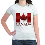 Canada Flag Jr. Ringer T-Shirt Maple Leaf Art