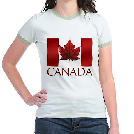 Canada Flag Jr. Ringer T-Shirt Maple Leaf Art